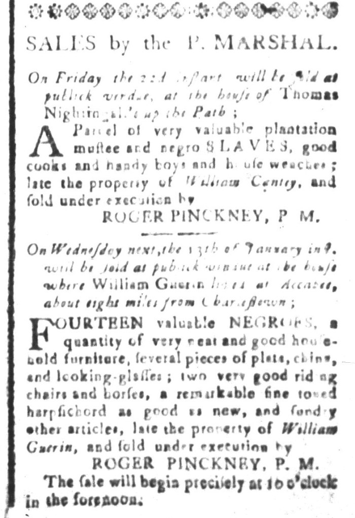 Jan 8 - South-Carolina and American General Gazette Slavery 7