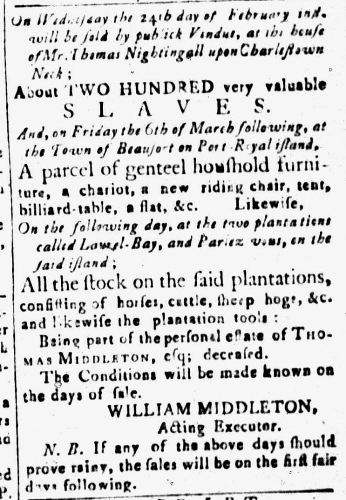 Feb 12 - South-Carolina and American General Gazette Slavery 13