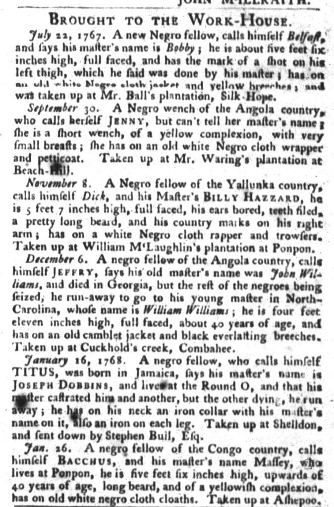 Feb 16 - South-Carolina Gazette and Country Journal Slavery 8