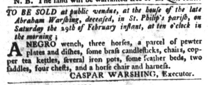 Feb 23 - South-Carolina Gazette and Country Journal Slavery 14