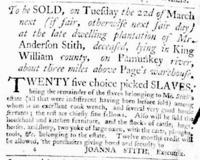 Feb 25 - Virginia Gazette Purdie and Dixon Slavery 1