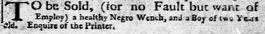 Mar 7 - New-York Gazette Weekly Mercury Slavery 1