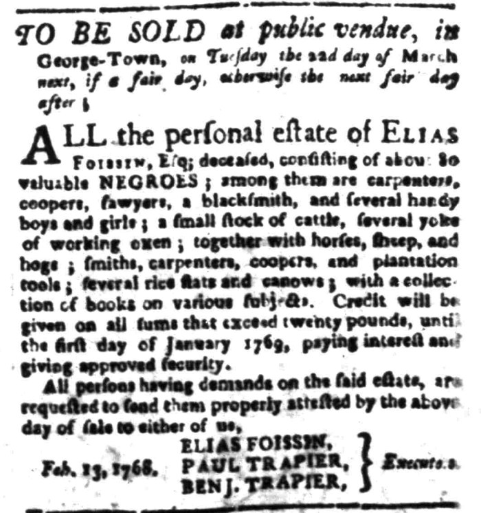 Mar 7 - South Carolina Gazette Slavery 10