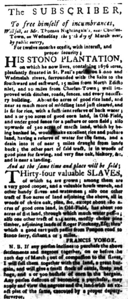 Mar 7 - South Carolina Gazette Slavery 7