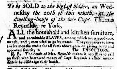 Apr 7 - Virginia Gazette Purdie and Dixon Slavery 1