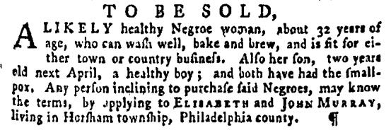 Mar 10 - Pennsylvania Gazette Supplement Slavery 1