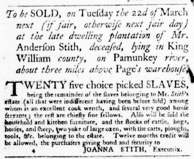 Mar 10 - Virginia Gazette Purdie and Dixon Slavery 6