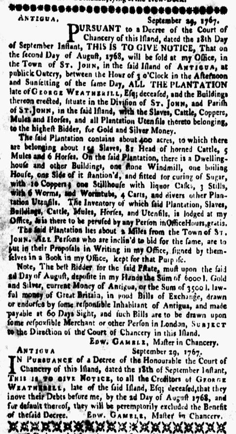 Mar 14 - New-York Gazette Weekly Mercury Supplement Slavery 1