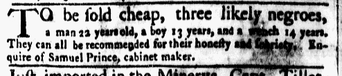 Mar 14 - New-York Gazette Weekly Mercury Supplement Slavery 4
