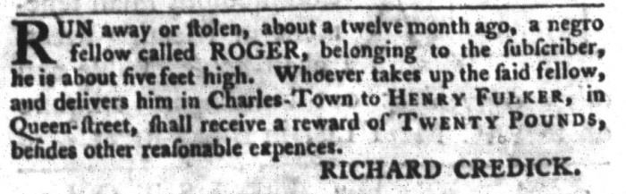 Mar 15 - South-Carolina Gazette and Country Journal Slavery 8