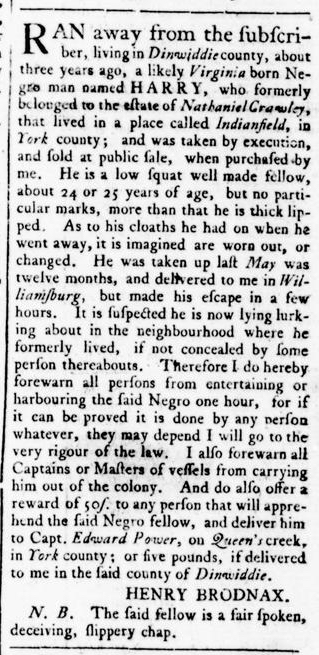 Mar 24 - Virginia Gazette Rind Slavery 1