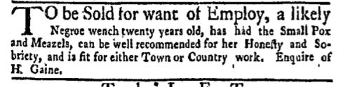 Mar 28 - New-York Gazette Weekly Mercury Supplement Slavery 3