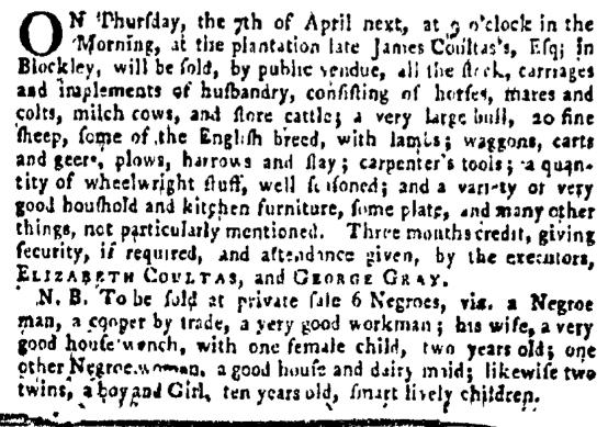 Mar 31 - Pennsylvania Gazette Supplement Slavery 1