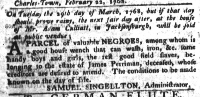 Mar 8 - South-Carolina Gazette and Country Journal Supplement Slavery 5
