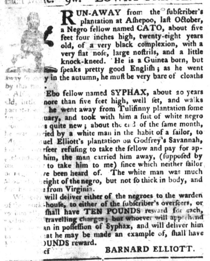 Apr 12 - South-Carolina Gazette and Country Journal Slavery 1