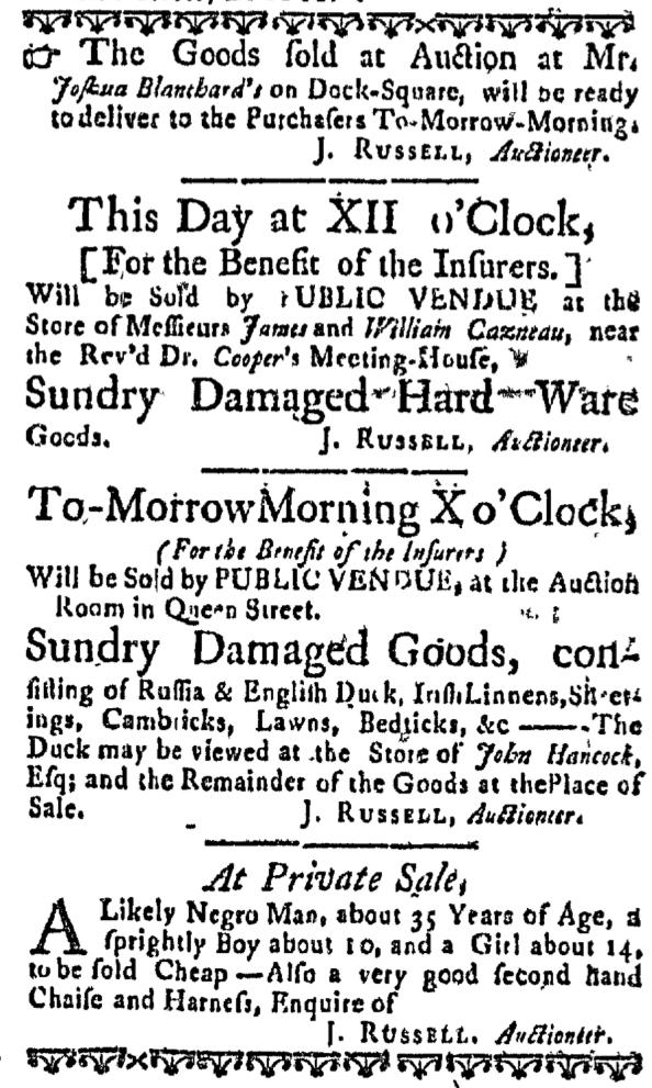 Apr 15 - Massachusetts Gazette Supplement Slavery 1