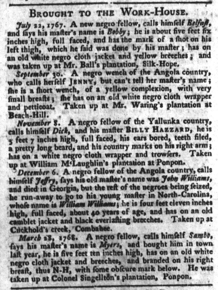 Apr 19 - South-Carolina Gazette and Country Journal Slavery 10