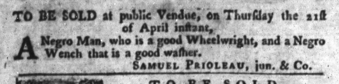 Apr 19 - South-Carolina Gazette and Country Journal Slavery 8