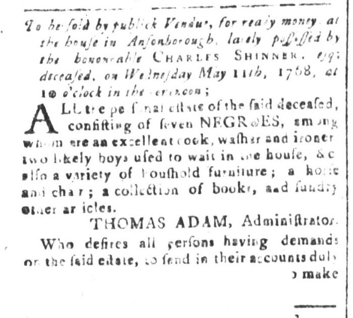 Apr 22 - South-Carolina and American General Gazette Slavery 2