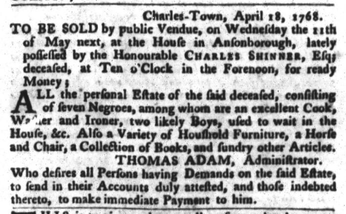 Apr 26 - South-Carolina Gazette and Country Journal Slavery 2