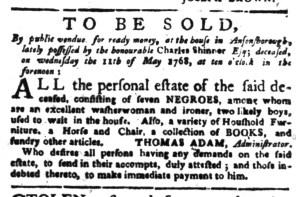 May 2 - South-Carolina Gazette Supplement Slavery 1