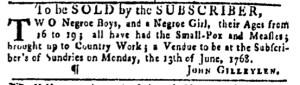 Jun 2 - Pennsylvania Gazette Slavery 1
