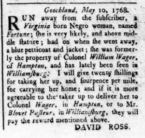 May 26 - Virginia Gazette Rind Slavery 4