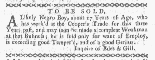 May 9 - Boston-Gazette Supplement Slavery 1