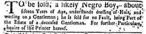 Jul 11 - New-York Gazette Weekly Mercury Slavery 2