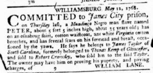 Jul 7 - Virginia Gazette Purdie and Dixon Slavery 7