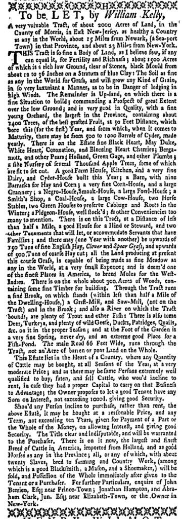 Jun 20 - New-York Gazette Weekly Mercury Supplement Slavery 1