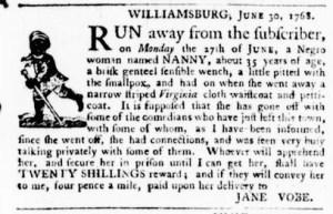 Jun 30 - Virginia Gazette Purdie and Dixon Slavery 2