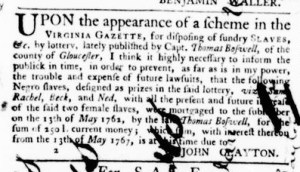Jun 9 - Virginia Gazette Purdie and Dixon Slavery 1