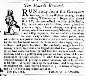 Aug 4 - Virginia Gazette Purdie and Dixon Slavery 2