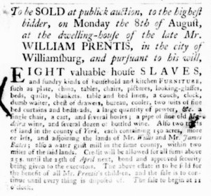 Aug 4 - Virginia Gazette Purdie and Dixon Slavery 3