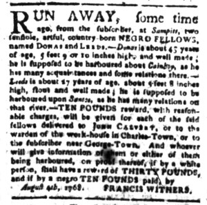 Aug 8 - South-Carolina Gazette Slavery 3