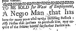 Jul 28 - Boston Weekly News-Letter Slavery 1