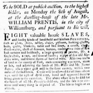 Jul 28 - Virginia Gazette Purdie and Dixon Slavery 1
