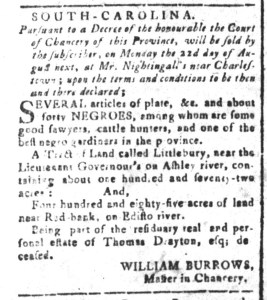 Jul 29 - South Carolina and American General Gazette Slavery 1