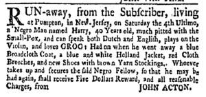 Aug 15 - New-York Gazette Weekly Mercury Slavery 2