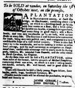 Aug 25 - Virginia Gazette Purdie and Dixon Slavery 7