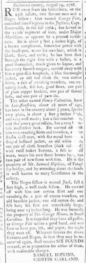 Aug 25 - Virginia Gazette Rind Slavery 1