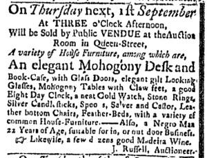 Aug 29 - Massachusetts Gazette Slavery 1
