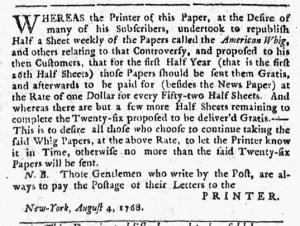 Aug 4 - 8:4:1768 New-York Journal