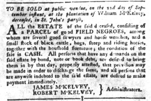 Sep 13 - South-Carolina Gazette and Country Journal Slavery 4