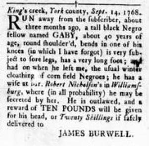 Sep 15 - Virginia Gazette Rind Slavery 4