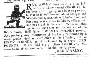 Sep 27 - South-Carolina Gazette and Country Journal Slavery 1