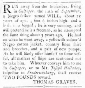 Sep 29 - Virginia Gazette Rind Slavery 1
