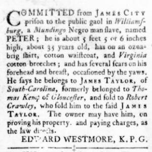 Sep 29 - Virginia Gazette Rind Slavery 10