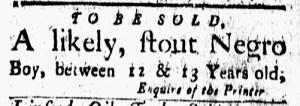 Sep 30 - New-London Gazette Slavery 1